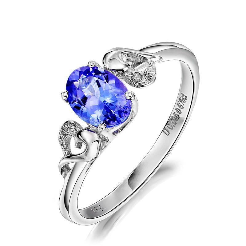 百世代精品天然坦桑石18K金镶嵌高级钻石彩宝戒指珠宝首饰定制
