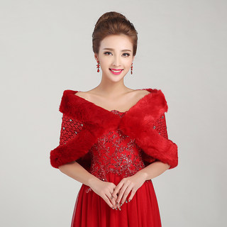 Honey marriage wedding dress shawl thickened woolly shawls all roads lead to shawl red shawl PJ006