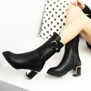Europe 2015 winter season new style high heel boots with waterproof boots thick in the head fashion boots ankle boots women