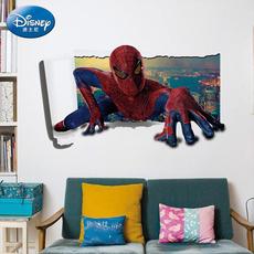 迪士尼正品 3D创意蜘蛛侠破墙装饰贴儿童房卧室房顶橱窗装饰贴画