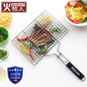 Fire herder 304 stainless steel grilled fish net barbecue grilled fish clip net barbecue ladle plywood barbecue tools supplies