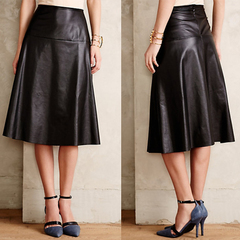 2014 Winter dress Korean place high waist long skirt look slimmer in a leather skirt and a pencil skirt skirts Pu leather umbrella skirt