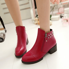 2015 vintage rivet head designer shoes for fall/winter boot women's ankle boots women simple side zip boots