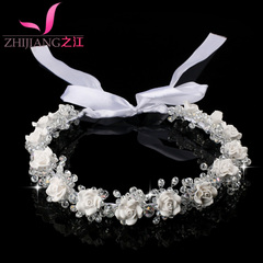 Korean bridal wreath headdress Sen date mother red wedding meat child Princess headband hairband hair band
