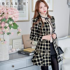 Tweed jacket women pink doll winter-long trench coat in gold silk kilts self-cultivation woolen overcoat