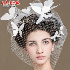 艾曼蒂新娘白色仿真立体蝴蝶结婚头饰边夹婚纱发夹拍照婚纱配饰品