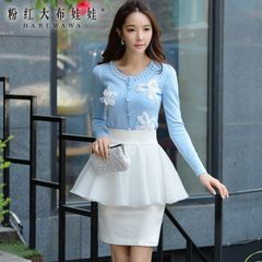 Pink Cardigan Sweater doll 2015 new autumn inserting Pearl slim girls coat sweater jacket