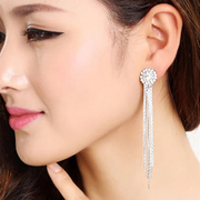 Tassel earrings women''s fashion temperament bridal earrings earring rhinestone Stud Earrings vintage long ear clip