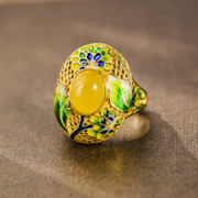 Thai Silver 925 enamel cloisonne ladies gemstone flower honey wax ring aperture ring new