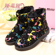 2015 new Korean short winter boots women boomers graffiti short tube slide PU waterproof snow boots warm shoes