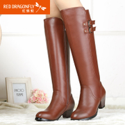 Red Dragonfly winter leather women shoes new style genuine simple and crude with high side zipper high heel fashion women's boots