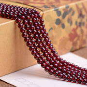 Myatou semi-finished parts natural and Liu Shi Sanzhu 6A rose Garnet bead 6MM natural