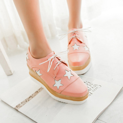 2015 new spring fashion shoes with square head Japanese sweet Joker women's Cougar trend lace wedges women