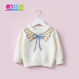 幻特昔2018春装童装宝宝儿童女童蝴蝶结套头打底毛衣针织衫线衣