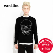 Menswear fall 2015 West new tide casual skull head crew neck long sleeve sweater knit black printing