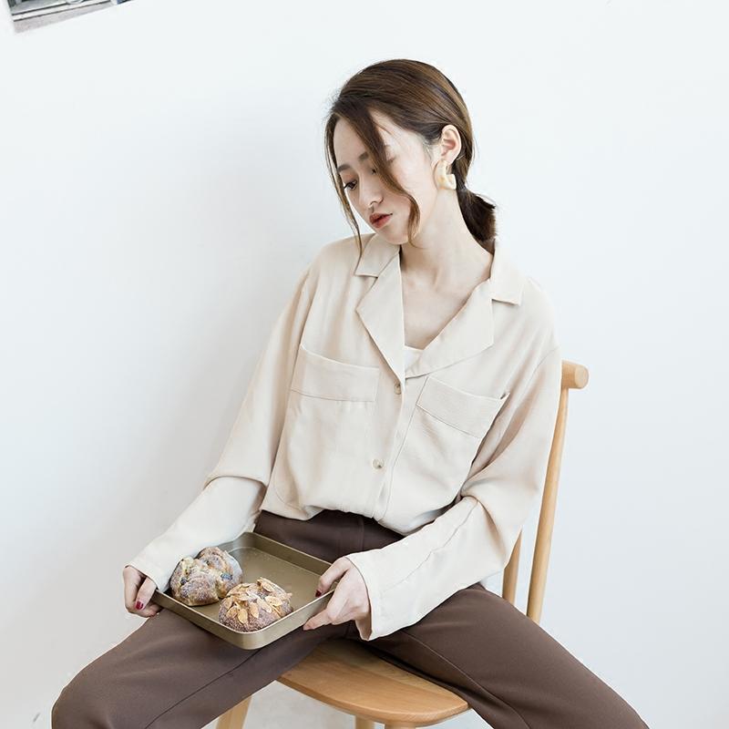 慵懒 风雪 衬衫 早秋 韩国 纯色 长袖 上衣 女装