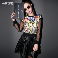 Seven spring new organza Princess official flagship store of 2015 double printed baggy Turtleneck t Wei Yinv