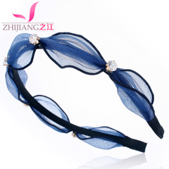 Zhijiang mesh rhinestone headband Korea temperament ladies headband hairpin pressed Japan and South Korea-studded sweet hair jewelry