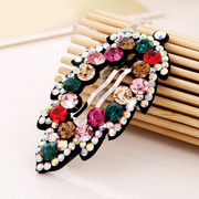 Beautiful Princess hair accessories Korean BB clip rhinestone hairpin leaves small jewelry tiara clip bangs clip clamp