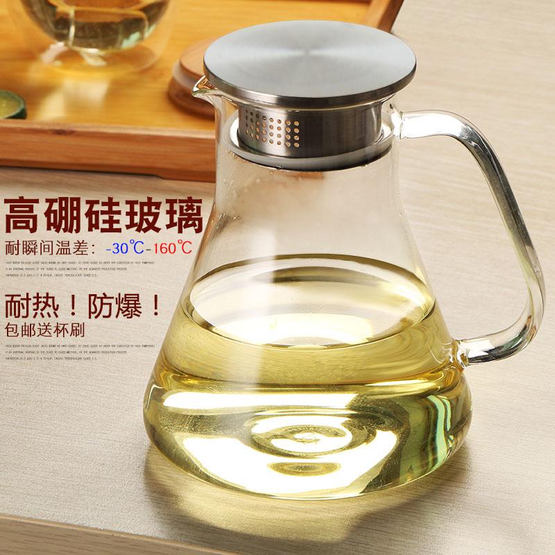 玻璃水壶大容量冷水壶耐热凉水壶凉水杯果汁壶水具大号玻璃壶套装
