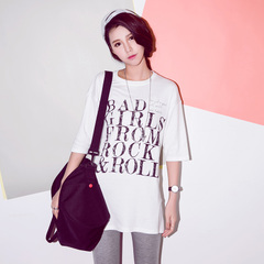 New spring/summer QUEENZZ leisure Korean 2015 crewneck long sleeve version of the letter t-girl in Korean