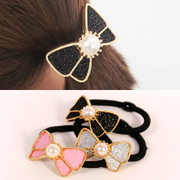 Know Connie hair Korea hair Korean temperament sequins Pearl simple rubber band bow string