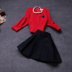 Stylish ladies fall/winter 2014 early fall the new Korean version of sweet temperament wool suit skirt autumn dress #