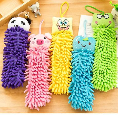 2个装擦手巾 超值动物超细纤维雪尼尔擦手巾 挂式超细纤维擦手巾