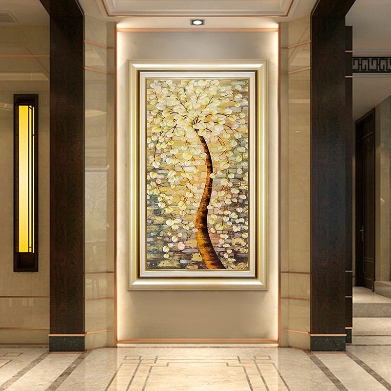 欧式玄关装饰画竖版走廊过道挂画发财树美式客厅餐厅书房壁画油画