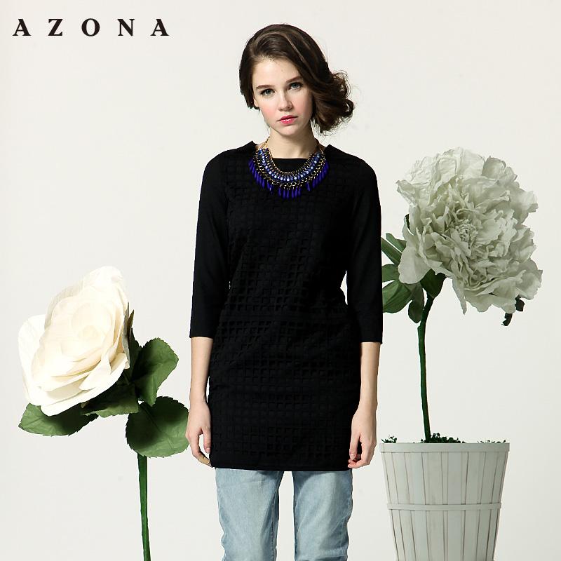 AZONA气质淑女网格镂空拼接中袖修身连衣裙 A1O1B0701DR
