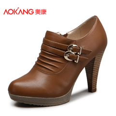 Aokang shoes winter new fashion Joker OL fashion heels and ankle women's shoes authentic email