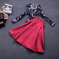 2015 spring vintage blouse-new slim suit long floral dress printed a-line skirt dress #