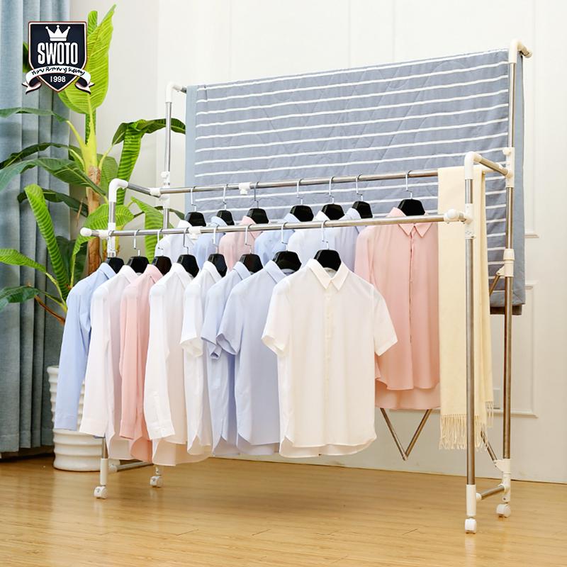 晾衣架落地双杆式折叠升降伸缩晒被子架室内晾衣杆阳台凉衣架晒架