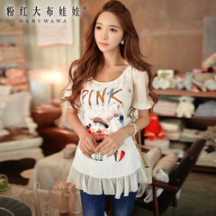 Women t shirt short sleeve pink doll 2015 summer ladies slim slimming printed inlay chiffon slim woman t shirt