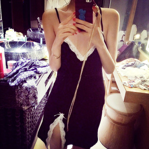 Summer cotton lace strap sexy nightdress sexy extreme temptation nightwear suit home service two-piece suit