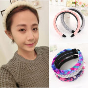 Known NI-style hand-knit coarse wool for fall/winter headband Korean braided belt teeth hair clip headband hair accessories