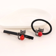 Know Richie Korean hair ornament wire hair accessories cat cute rubber band pop Korea hair band rhinestone ring jewelry