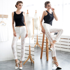 European perspective mosaics grace new sexy white lace pants slim leisure feet pencil pants pants 9145