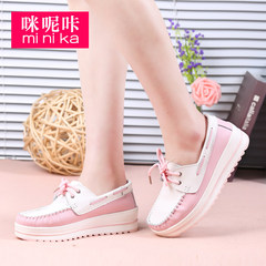 MI Ka new leather shoes for fall/winter girl Korean version platform increases air platform shoes asakuchi casual shoes