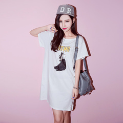 Spring/summer QUEENZZ/2015 split hem BF wind cartoon short sleeve t loose dress Korean LYQ705