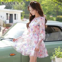 Organza dress with a big pink doll 2015 autumn ladies new big organza dresses with long sleeves