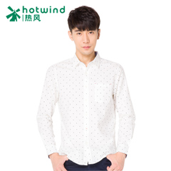 Hot air men's four-leaf clover print long sleeve shirt shirt slim Korean City boy personality 02W5711