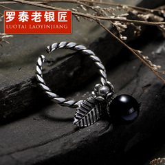 Chandos old silversmith retro Thai silver Lady rings s925 Silver Rings Silver ring Black Pearl ring opening gifts