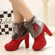 2015 new Korean women's boots for fall/winter tide rough round head with ultra high heels short boots for women nude fur snow boots boots
