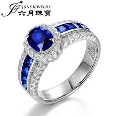 JUNE JEWELRY/六月珠宝天然18K金蓝宝石戒指椭圆1.2克拉高端定制