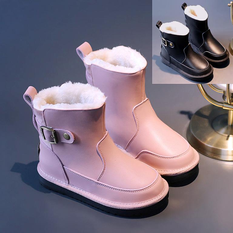 真皮女童雪地靴儿童棉鞋冬季宝宝中大童棉靴短靴大棉鞋防水男童鞋