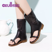 Exull q2015 spring new miter cut a flat bottom tube cool boots women shoes 15153142