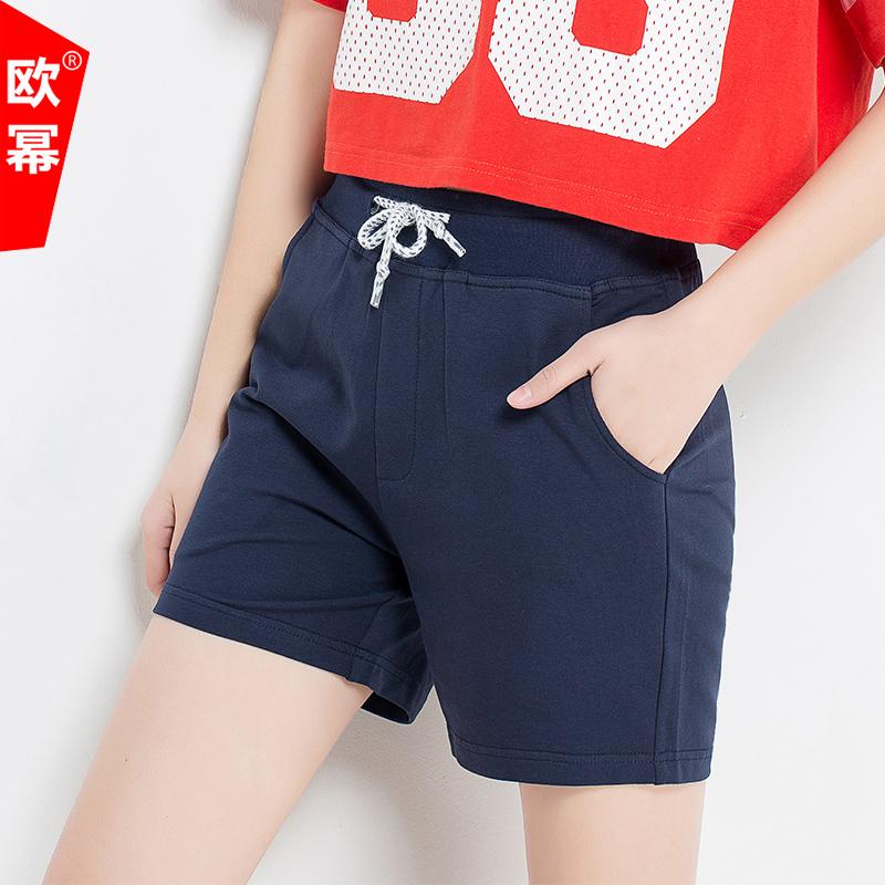 夏季女士运动短裤棉薄款休闲中裤宽松大码裤子韩版显瘦跑步裤潮