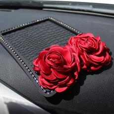 汽车载镶钻手机防滑垫 韩国玫瑰花朵女士车用置物手机香水防滑垫