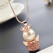 Love stylish Korean Crown Angel accessories women sweater chain long necklace accessory package mail